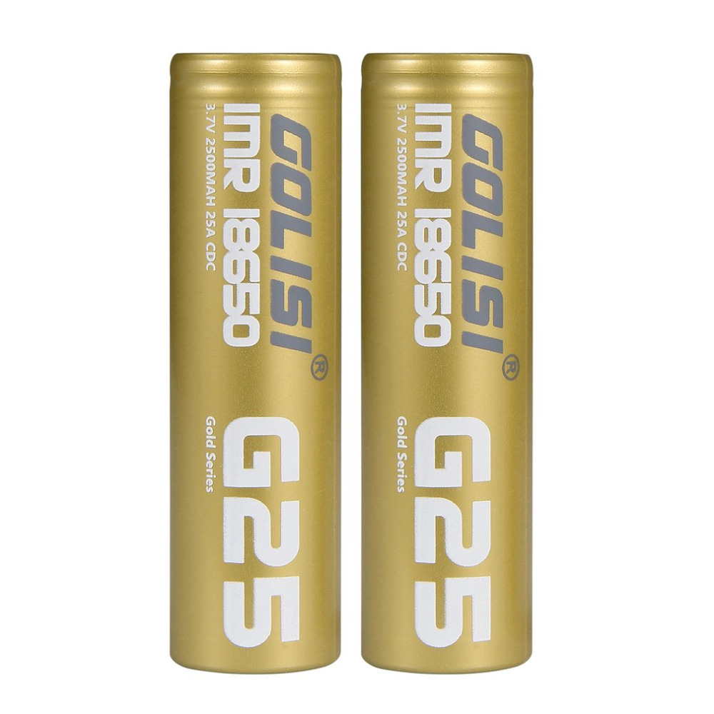 2PCS GOLISI G25 High Drain Li-ion 18650 Rechargeable Batteries 3.7V 25A 2500mAh Battery  ...