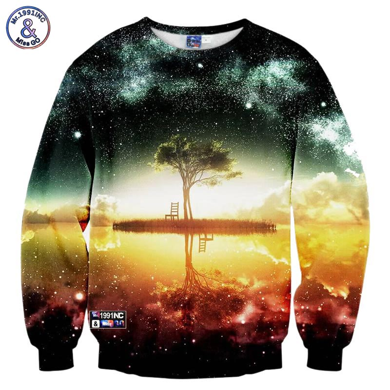 2018 Mens 3d Sweatshirts Printed A Person Watch The Space Meteor Shower Casual Stairs Ladder Hip Hop Harajuku Hoodies 5xl Men's Clothing