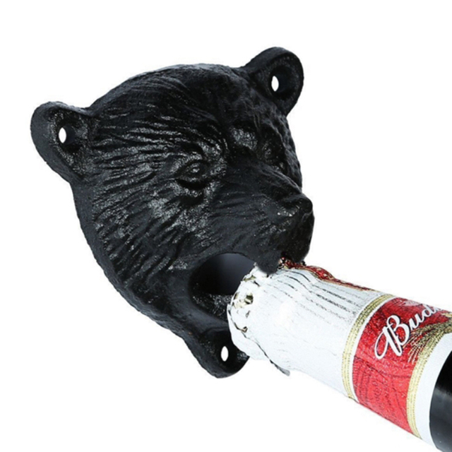 vintage cast iron bear design beer soda can opener wall mounted