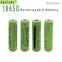 6XSkoTeRy 18500 Li-ion battery Lithium Battery 3000mAh 3.7V Li-ion Rechargeable Battery 18650 Batteria Flat Top  Green стоимость