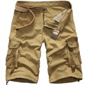 Новый 2016 brand мужская повседневная камуфляж насыпных грузов шорты мужчин большой размер multi-карман военные короткие комбинезоны