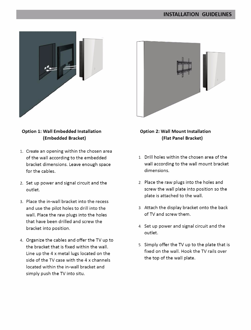 Wall Mounted Installation Instructions