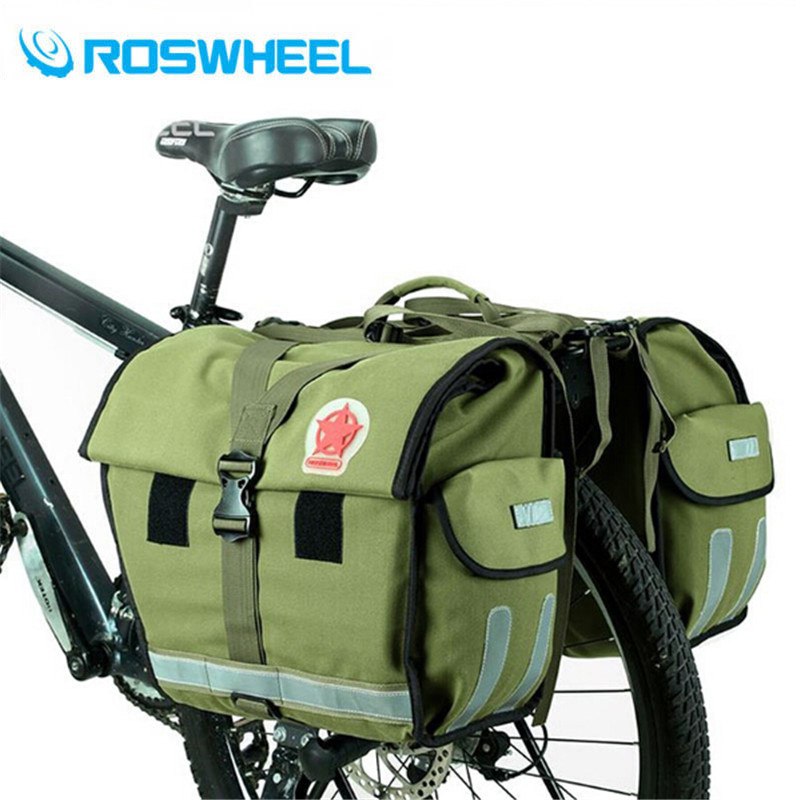 2017 50L Rainproof Bicycle Carrier Bag Retro Canvas Rear Rack Trunk Bike Luggage Back Seat Pannier Cycling Storage Two Bags roswheel bike carrier rack bag multifunctional road bicycle luggage pannier rear pack seat trunk bag bike accessories bicicleta