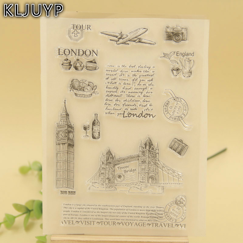 KLJUYP 1 sheet DIY London Bridge Transparent Clear Silicone Stamp/Seal for DIY scrapbooking/photo album Decorative clear stamp lovely animals and ballon design transparent clear silicone stamp for diy scrapbooking photo album clear stamp cl 278