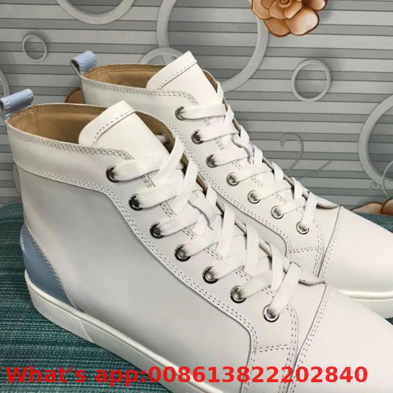Lace Up Patent Leather Red Bottoms Shoes High Top For Man White No Spikes Blue Heel Casual Couple Models Flat Loafers(China)