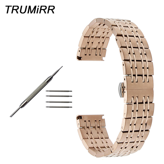 US $19 99 |Stainless Steel Watch Band 18mm 20mm 22mm + Tool for Omega  Deville Seamaster Speedmaster Butterfly Buckle Strap Wrist Bracelet-in