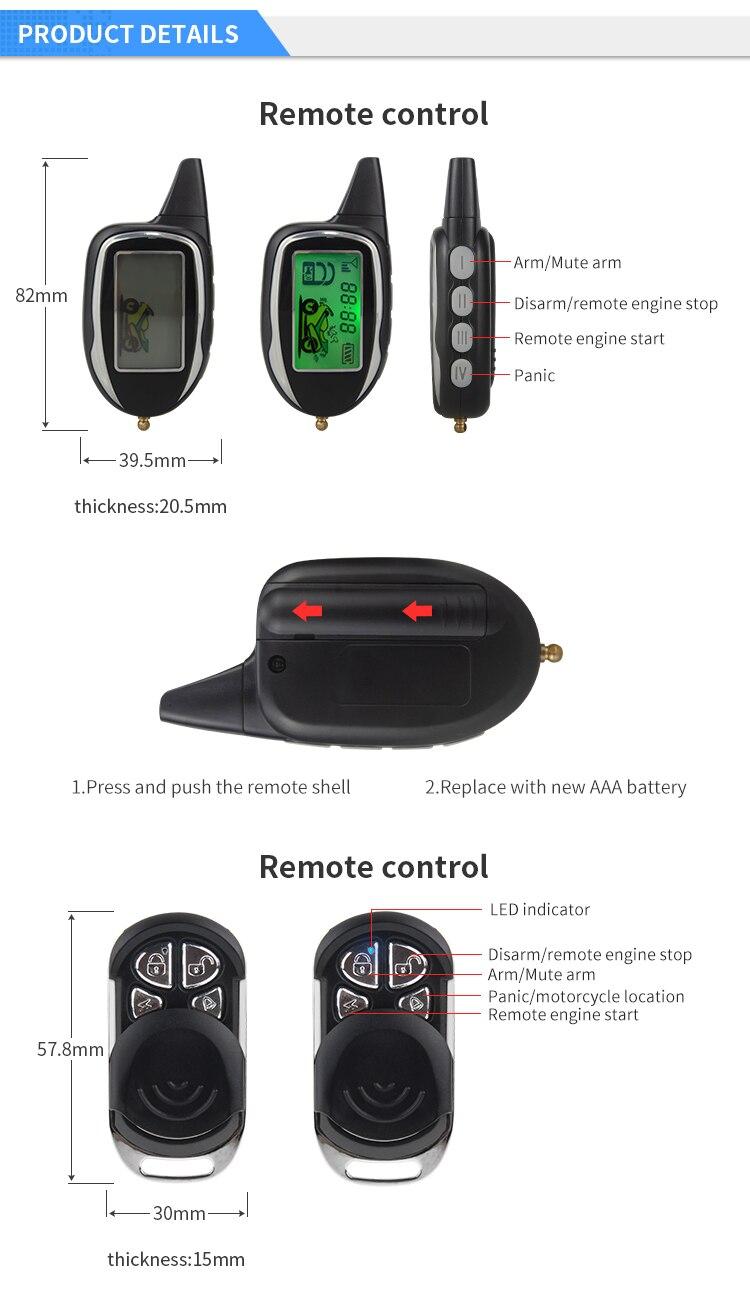 2 way motorcycle alarm tilt sensor shock sensor LCD pager display remote start