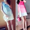 2017 Fashion Womem Preganant Clothes Cotton Loose Nursing Dress Knee-Length Skirts Maternity Dress Gradient Color Size M L XL