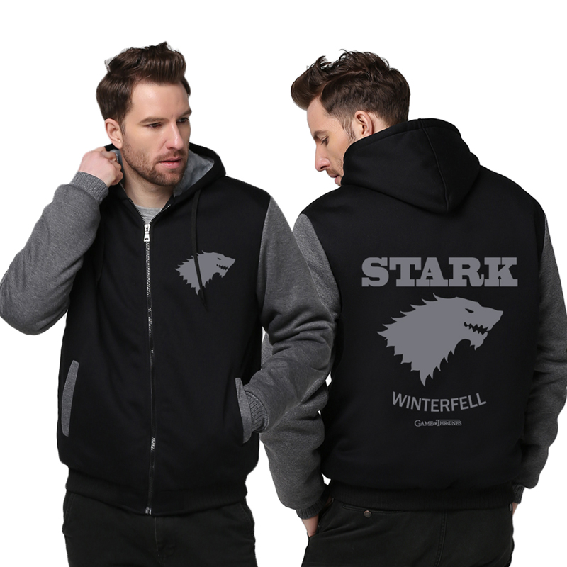 USA size Game of Thrones Direwolf Ghost House of Stark Winter is Coming Jacket Sweatshirts Thicken