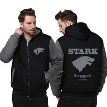 Размер США Игра престолов Direwolf призрак дом Старк скоро зима Куртка кофты Сгущает с капюшоном пальто на молнии