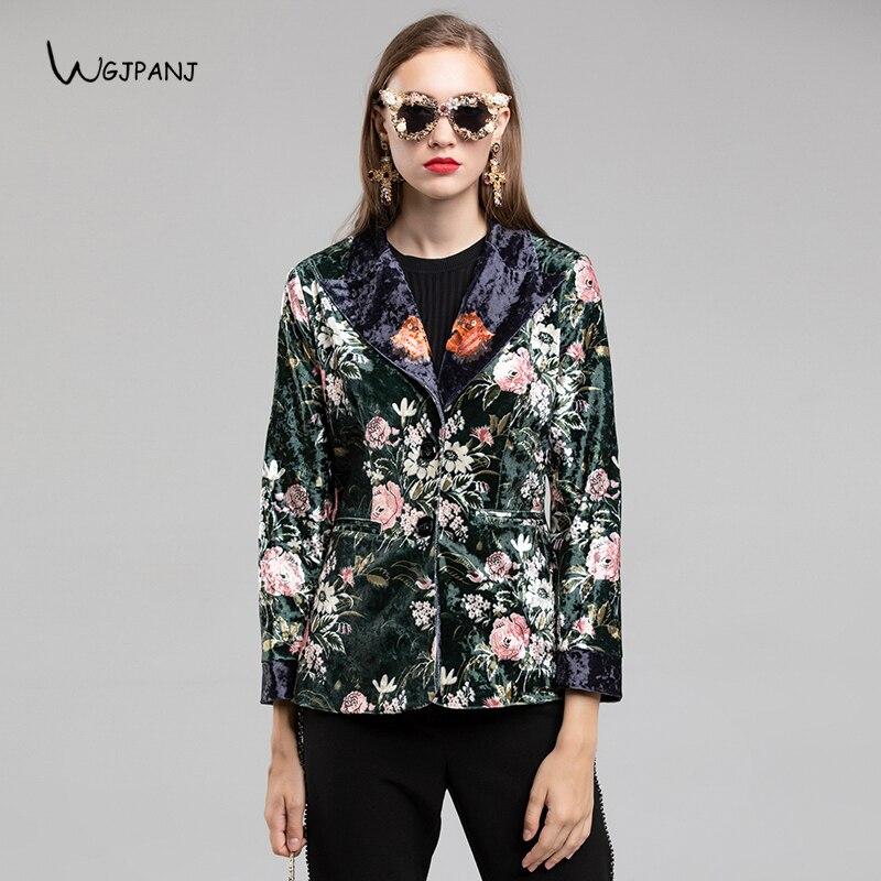 Conception Manteau Et Occasionnel Vintage Blackish Femmes Blanc Noirâtre Mince Floral Blazers 2018 Veste Automne Imprimé Green Vert Piste Velours Tops w6fq44np