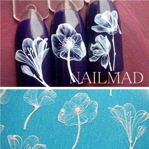 Image 3 - 1pc 3D Acrylic Engraved Bee Lotus Nail Sticker Embossed Rose Flower Water Decals Empaistic Nail Water Slide Decals Fashion Nails