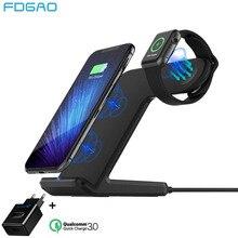 FDGAO Qi chargeur sans fil pour Apple Watch 5 4 3 2 iPhone 11 8 X Xs Max XR Samsung S9 S10 QC 3.0 USB support de charge sans fil rapide