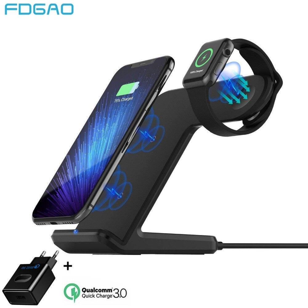Relógio 4 3 2 FDGAO Qi Carregador Sem Fio Para Apple iPhone 8 Plus X Xs Max XR Samsung S9 S8 QC 3.0 USB Suporte de Carregamento Sem Fio Rápida