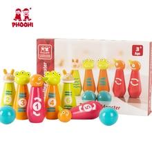 Kids Wooden Bowling Set Game Toy Children Cartoon Monster Outdoor Ball Toy For Toddler PHOOHI цены онлайн
