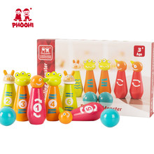 Kids Wooden Bowling Set Game Toy Children Cartoon Monster Outdoor Ball Toy For Toddler PHOOHI(China)