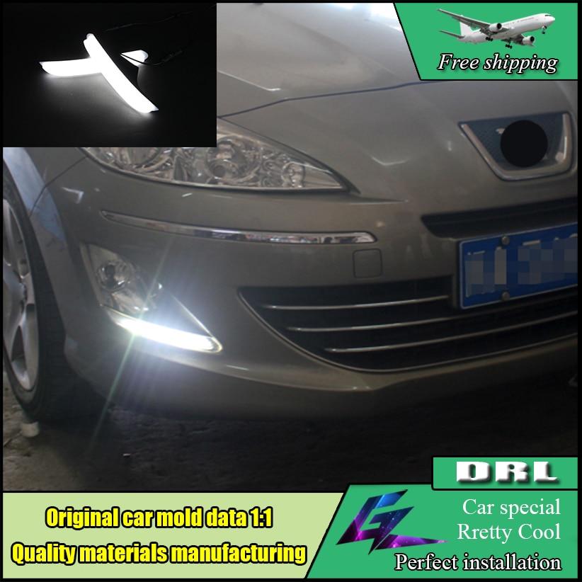 Car Styling LED DRL For Peugeot 408 LED daytime running light 2011-2014 High brightness guide LED Fog Lamp DRL Bumper Daylight
