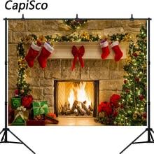 Каписко Рождественская елка фон камин фото фон белый кирпичная стена фотографии фоны Санта Клаус носок Фотостудия