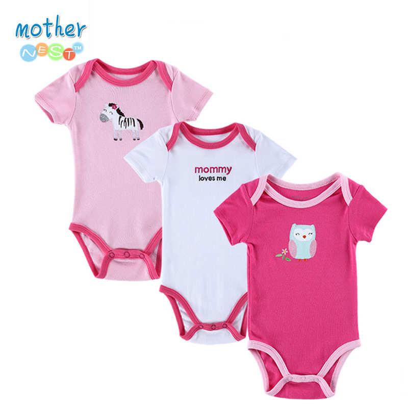 2016 새로 3 개/몫 아기 bodysuit 소녀와 소년 여름 아기 소녀 의류 반팔 잠옷 신생아 unisex 아기 옷