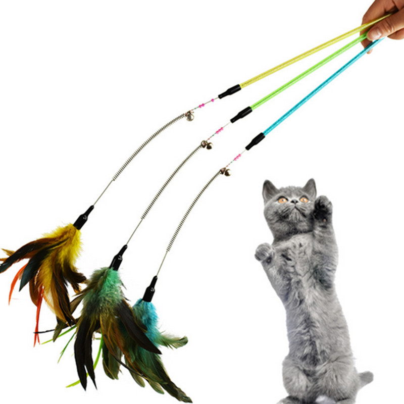 Strong-Toyers New Pet Cat Toy Kitten High-quality Pet Cat Feather Spring Teaser Wand Rod Pole Cat Feather Interactive Toy