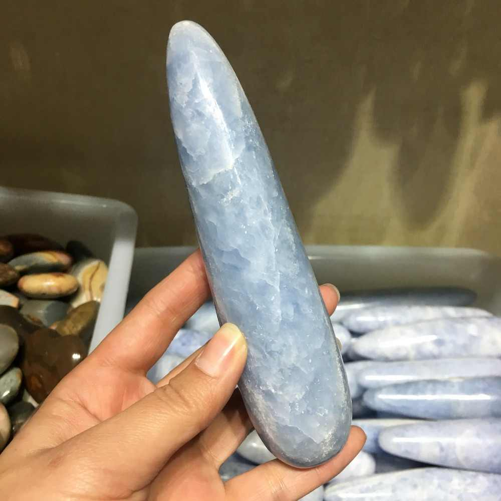 350g natural Celestite quartz crystal MASSAGEM WAND Cura Poderosa