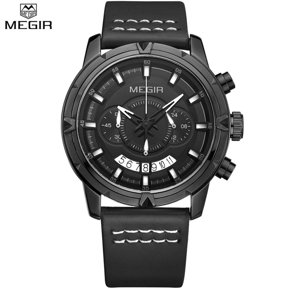 Famous Brand New MEGIR quartz watch Genuine Leather watches Waterproof Men Casual Sports Chronograph Clock male reloj hombre weide new men quartz casual watch army military sports watch waterproof back light men watches alarm clock multiple time zone