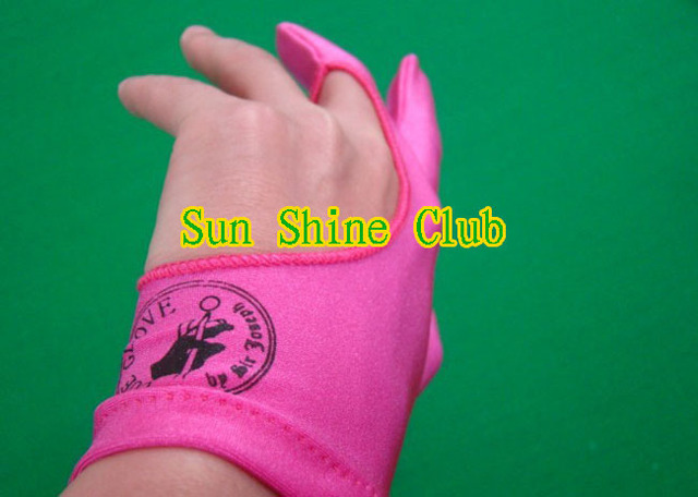 Free shipping 8pcs/lot high Elasticity 3 finger Pink billiard gloves/Pool Table Snooker billiard table Gloves