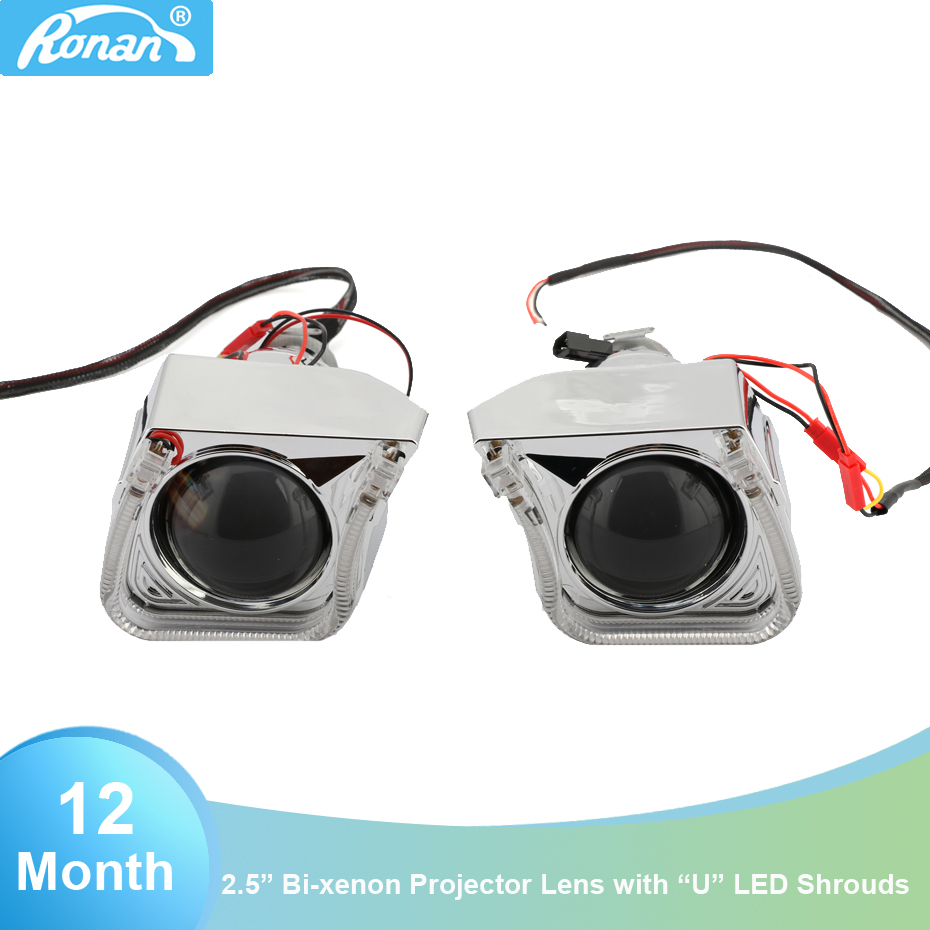 RONAN 2 5 Inches car styling Bi Xenon Projector Lens with LED Integrated Shrouds White Angel