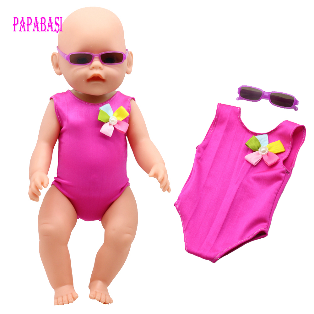 Rose Dress + Sunglasses 45cm American Girl Doll Bikini summer Swimming wear also fit for 43cm Baby born zapf dolls swim wearing summer set for 18 american girl doll bikini cap summer swimming suit with hat also fit for 43cm baby born zapf doll clothes
