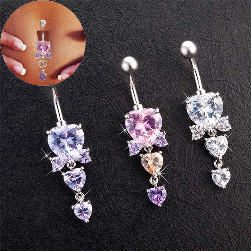 Multi Colored CZ Stone Flower with Star Dangling 925 Sterling Silver Belly Button Piercing Ring Jewelry