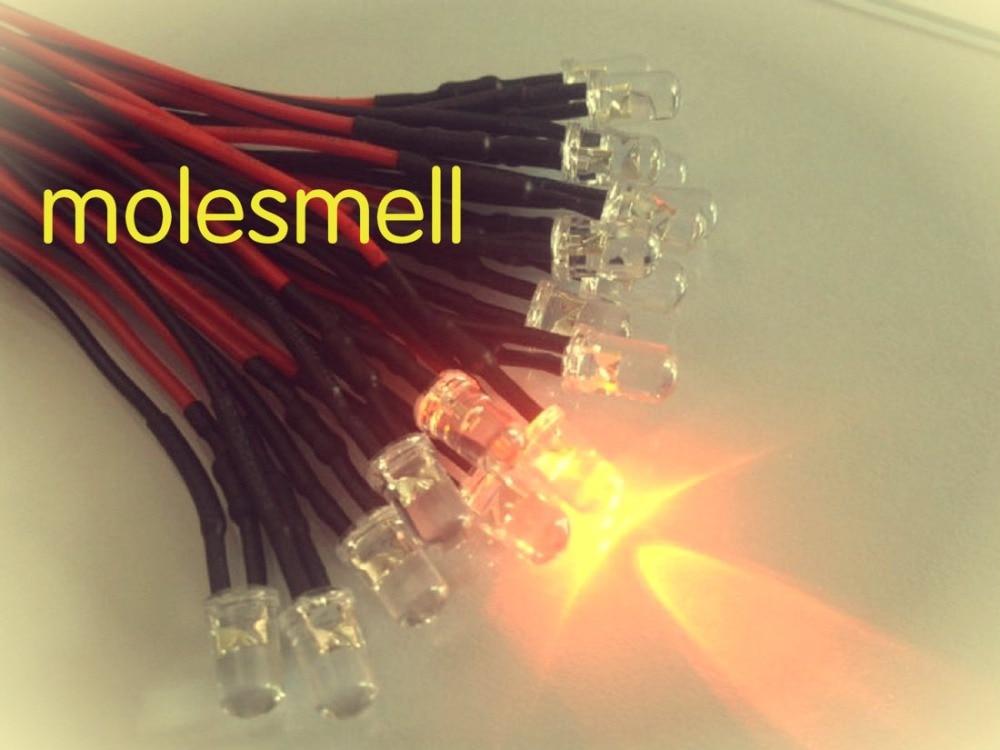 50pcs 5mm 12v Orange Water Clear Round Led 12V DC 20cm Pre-Wired LED Light DIY