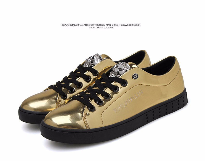 KUYUPP 2016 High Quality PU Patent Leather Men Flats Shoes Leopard Head Sequined Skate Shoes Round Toe Lace Up Men Flat Heel Y31 (38)