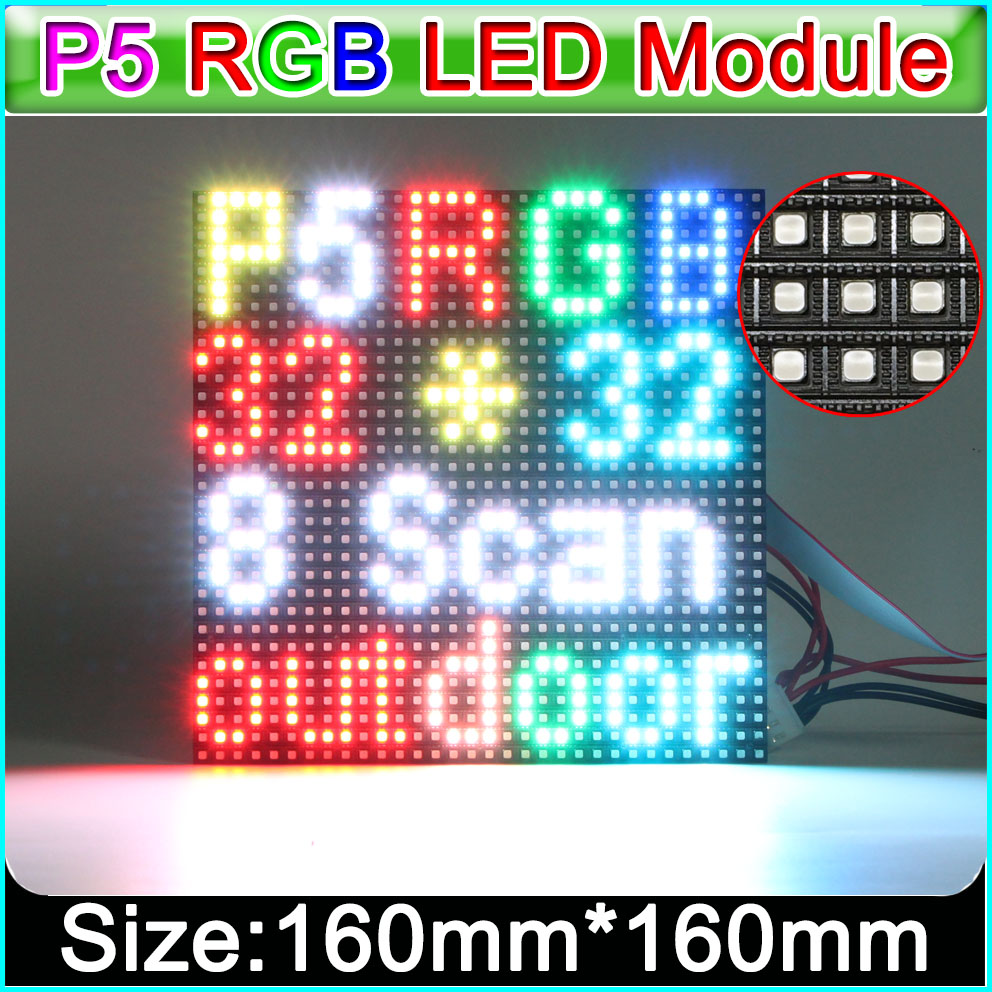 3in1 SMD Full Color Display P5 LED Module,1/8 Scan, 160*160mm 32*32 Pixels; Waterproof  RGB Panel ,can Customize P10 Module