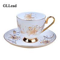 GLLead European Style Ceramic Coffee Cup And Saucer Tea Cups Set Home Afternoon Flower Tea Teacup Porcelain Top Grade Drinkware