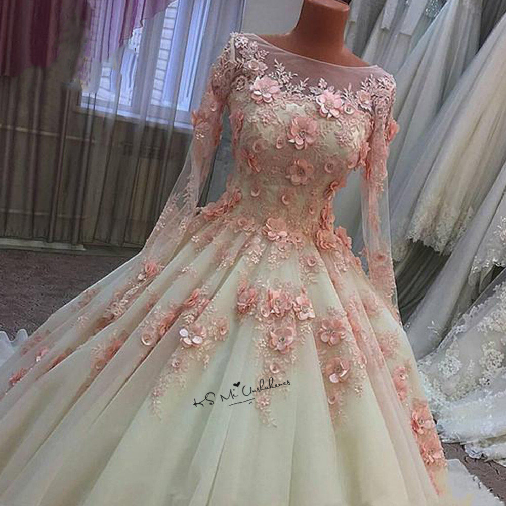 Pink 3D Flowers Wedding Dresses Vestido De Noiva Princesa