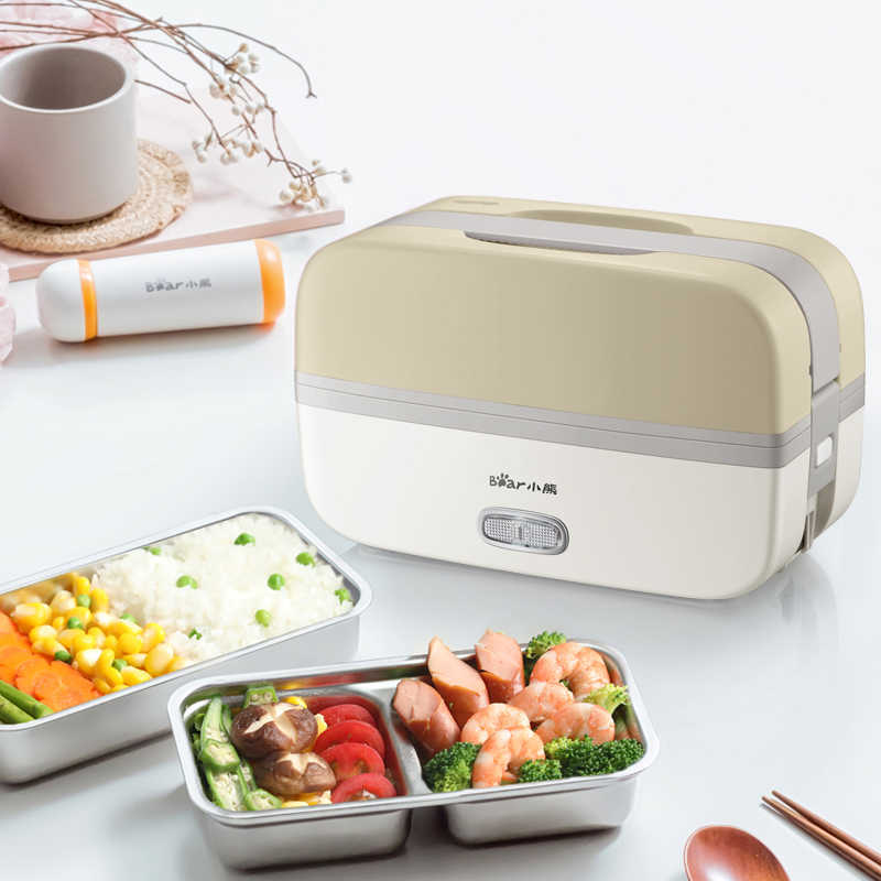 Portable Electric Lunch Box Rice Cooker Pluggable Heating Insulation Double Layer Cooking Preservation Separate Liner