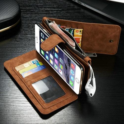Populära Caseme 2 i 1 kortspalter äkta läder plånbok väska - Reservdelar och tillbehör för mobiltelefoner