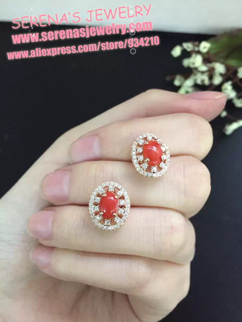 so beautiful and up class s925 silver surface size 5*7mm on sale natural red coral earrings for women