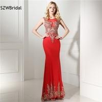 Vestido de festa Chiffon Red Evening dresses 2018 Illusion Saudi Arabic kaftan Formal dresses Plus size In stock vestido branco