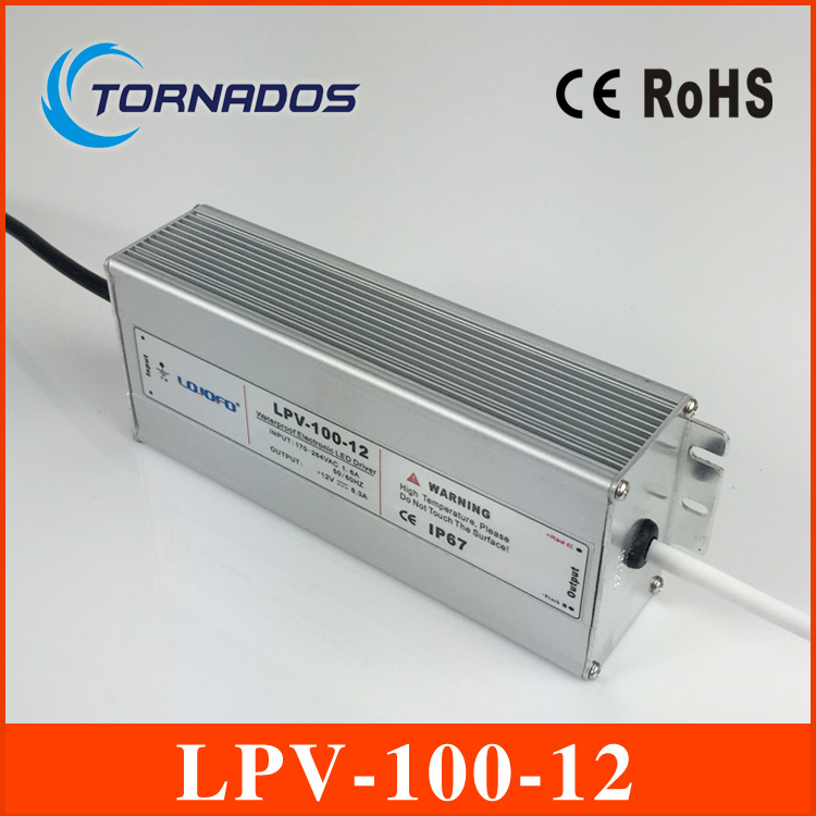 100W 12V 8.5A LED constant voltage waterproof switching power supply IP67 for led drive LPV-100-12 90w led driver dc40v 2 7a high power led driver for flood light street light ip65 constant current drive power supply