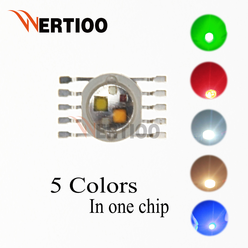 100pcs New LED Lamp Lights RGBW 5 Colors in One Chip 5W High Power Lighting emitter 3.2~3.5V RGB with White and Warm white Lamp