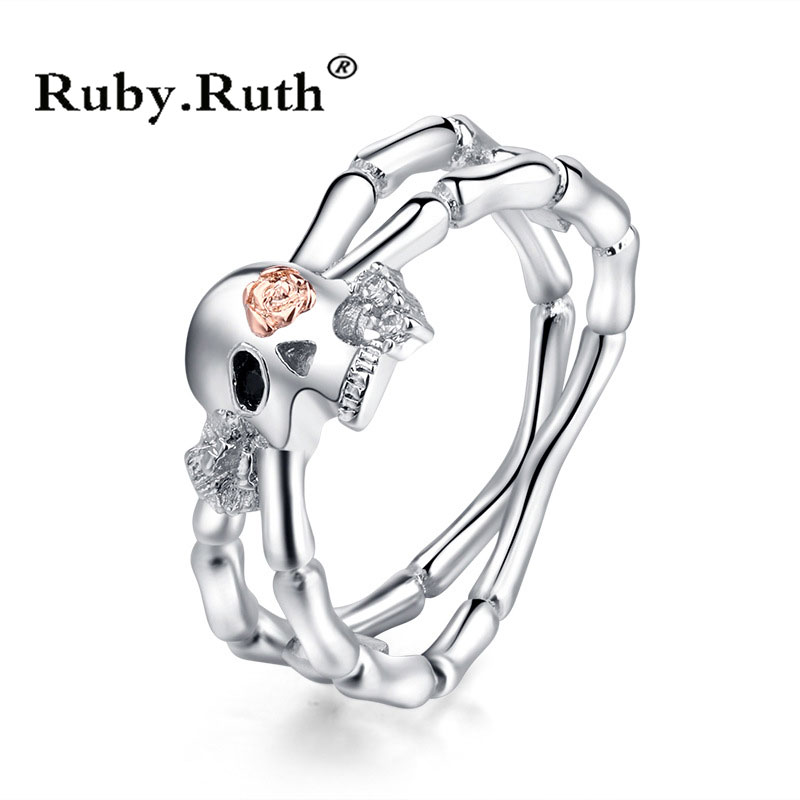 Punk Skull Promise Ring Women Fashion Crystal Jewelry Wedding Engagement Valentine's Day Gift