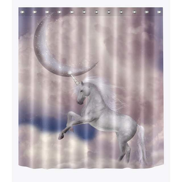 Galaxy Magical Unicorn Waterproof Shower Curtain Bath Wall Hangings 5 Size Hooks