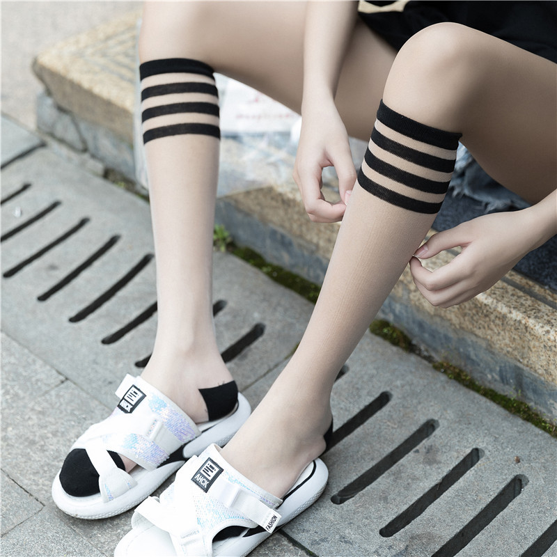 SP&CITY New Arrival Women Striped Patterned Transparent Glass Socks Sexy Colored Female Thin Leg Socks College Lolita Sox