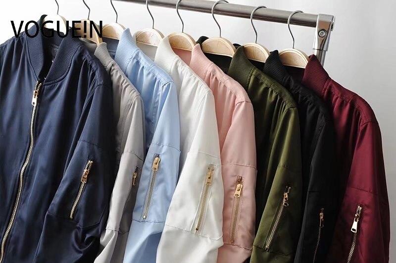 VOGUE!N New Womens Ladies Pockets Solid 8 Colors Zip Up Satin Bomber Flight Jacket Coat