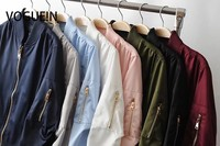 VOGUE!N New Womens Ladies Pockets Solid 8 Colors Zip Up Satin Bomber Flight Jacket Coat