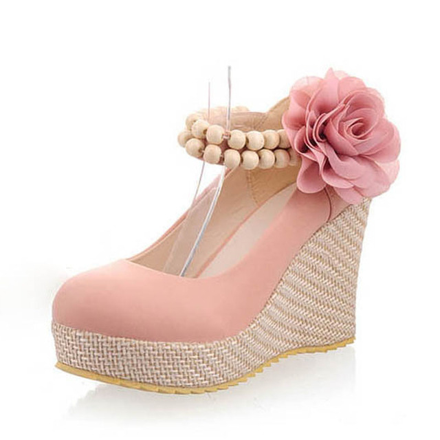 New Fashion Flower Ankle Strap Platform Wedges Elegant Ladies High Heels Wedge Wedding Shoes Wedges Shoes For Women Shoes Woman