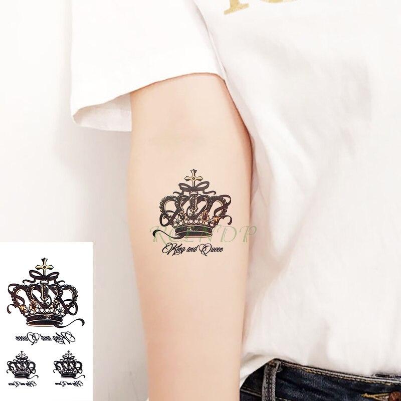 Waterproof Temporary Tattoo Sticker crown cross letter black tatto flash tatoo fake tattoos for men women