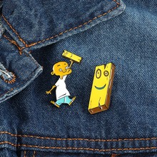 Cartoon funny brooch cute wooden board and bald boy enamel pin cartoon character badge jewelry girl gift