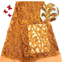 Burnt Orange Tulle Lace, Nigeria Fabric Lace With Sequins, Embroidery Lace Bridal For Sewing